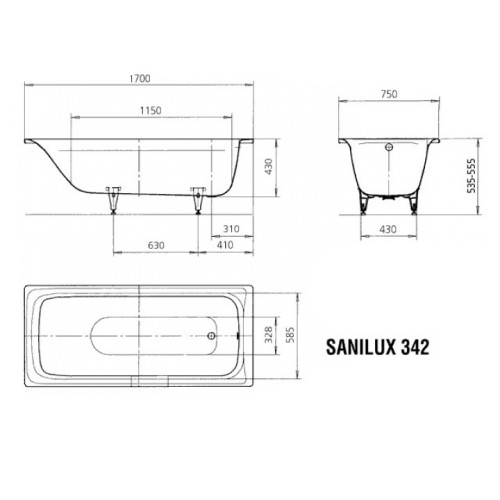 Калдевей Sanilux Star 170x75 мод. 343